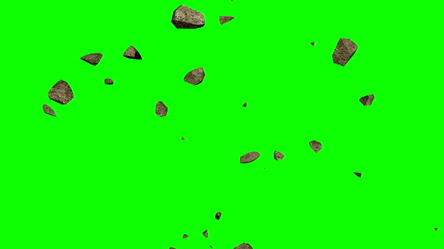 animation of  3d stones   rotating and flying on green screen  background - pietra roccia video stock e b–roll