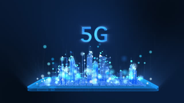 Animation of 5G, bright digital tablet and city wireframe in bright blue and white colors particles, Sphere particle line rise up. Digital technology and communication concept. - vídeo
