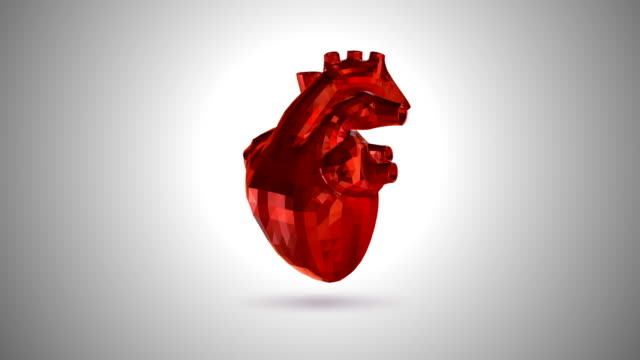 3d Animation Of A Beating Low Poly Human Heart Stock Video
