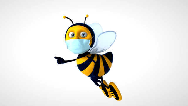 3D Animation of a bee with a mask video