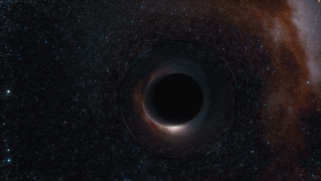 animation of a black hole in space. space, light and time are distorted by strong gravity on the event horizon of black hole - czarna dziura filmów i materiałów b-roll