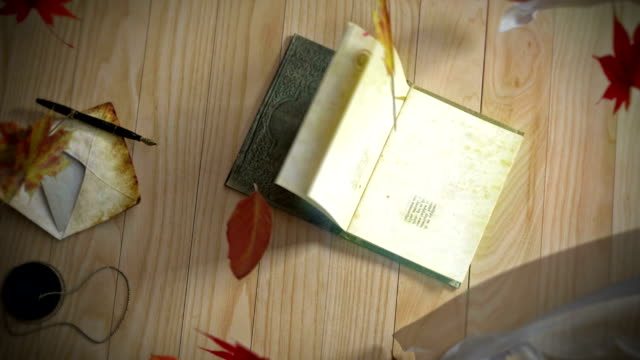 Animation of a book opening, with winding leafs and curtains conceptual background video