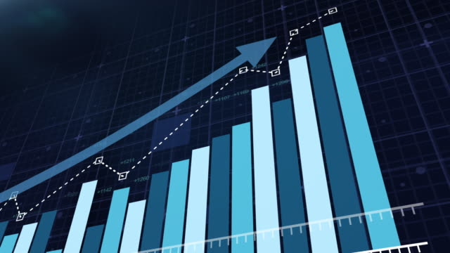 Animation of a business infographics with rising arrow.