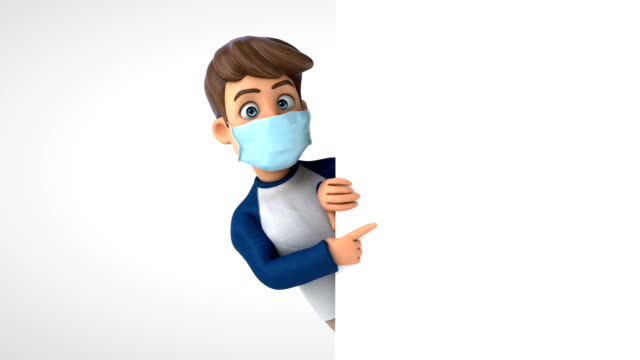 3D Animation of a cartoon character with a mask video