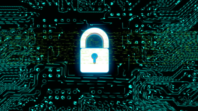 Animation of a circuit board with a padlock in cyber space. video