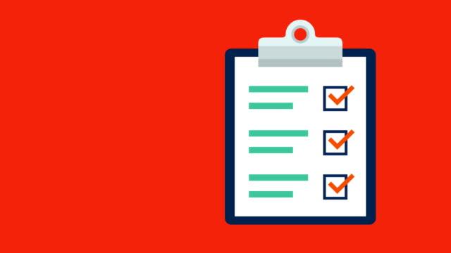 vídeos y material grabado en eventos de stock de animación de un portapapeles con listado de papel de documento y adición de marcas de verificación de ticks volando desde la izquierda y volando hacia la derecha - survey icon