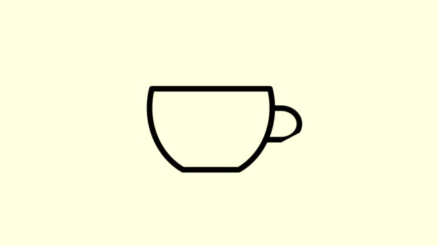Animation of a cup with hot tea or coffee in drawing style. Animation of a seamless loop. Can be used as an icon or title. video