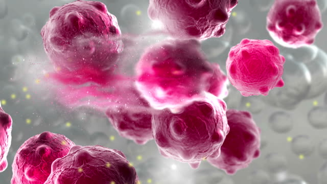 Animation of a damaged and disintegrating cancer cell