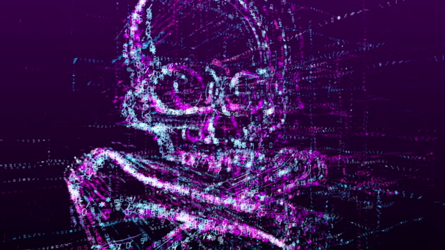 Animation of a danger sign, virtual skull. Consists of a stream of numbers and symbols in digital space.
