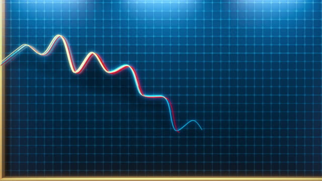animation of a falling chart. - scendere video stock e b–roll