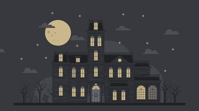 Animation of a family house with an ominous cemetery in the moonlight. Lights flash, trees sway, clouds float. Horror house, attraction, halloween illustration.  Headstones, graves. Spooky Gothic home