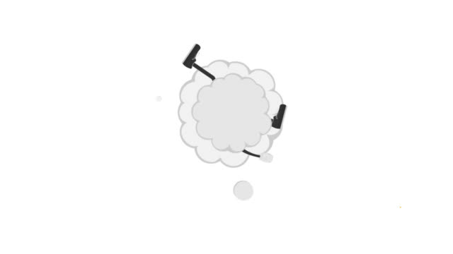 Animation of a fight cloud. Cartoon style