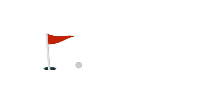 Animation of a golf ball in a hole. Cartoon