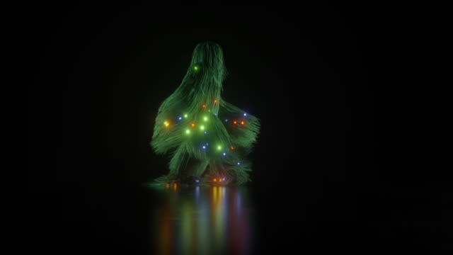 Animation of a hairy christmas character