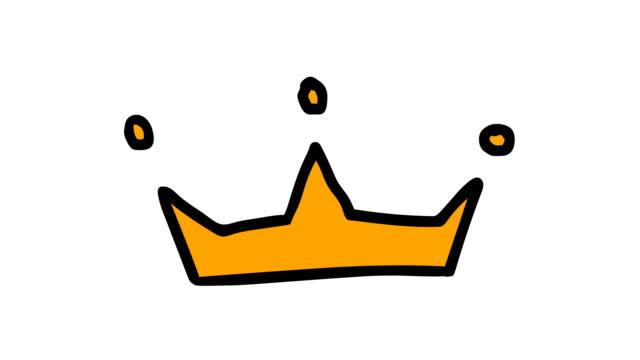 vídeos de stock e filmes b-roll de animation of a hand-drawn crown - coroa