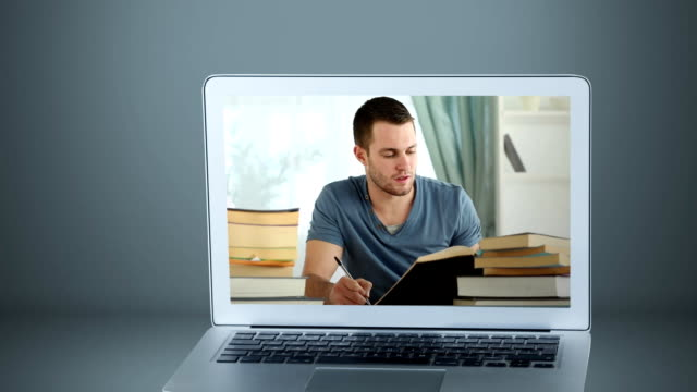 Animation of a laptop showing Caucasian man reading on the screen