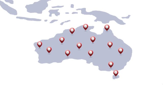澳大利亞地圖中位置引腳顯示的動畫 - 亞太地區 個影片檔及 b 捲影像