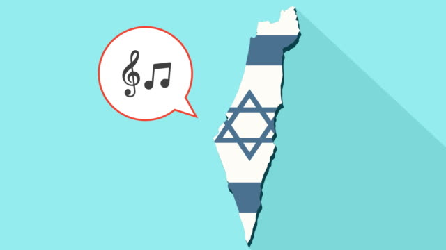 Animation of a long shadow Israel map with its flag and a comic balloon with g clef and note music video