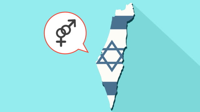 Animation of a long shadow Israel map with its flag and a comic balloon with an interlaced female and male sexual signs video