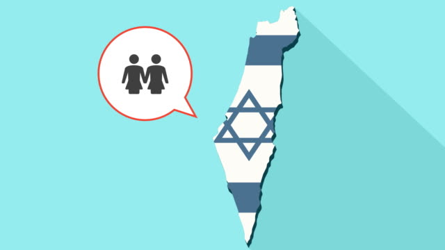 Animation of a long shadow Israel map with its flag and a comic balloon with a lesbian couple pictogram video