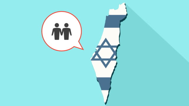 Animation of a long shadow Israel map with its flag and a comic balloon with a gay couple pictogram video