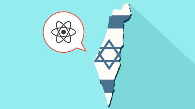 Animation of a long shadow Israel map with its flag and a comic balloon with an atom video