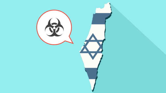 Animation of a long shadow Israel map with its flag and a comic balloon with a biohazard sign video