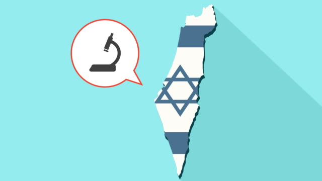 Animation of a long shadow Israel map with its flag and a comic balloon with a microscope icon video