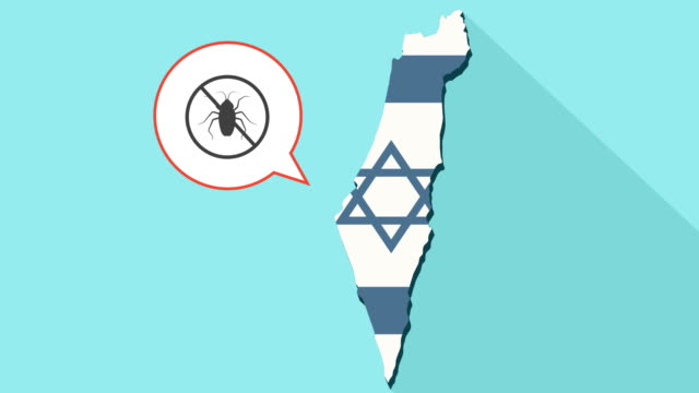 Animation of a long shadow Israel map with its flag and a comic balloon with a cockroach in a not allowed sign video