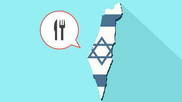animation of a long shadow israel map with its flag and a comic balloon with a cutlery - icona posate video stock e b–roll