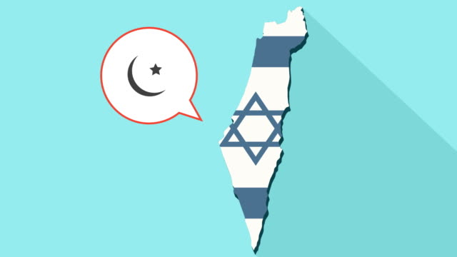 Animation of a long shadow Israel map with its flag and a comic balloon with a islam sign video