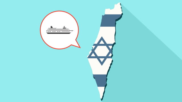 vídeos de stock e filmes b-roll de animation of a long shadow israel map with its flag and a comic balloon with a cruise ship - transatlântico