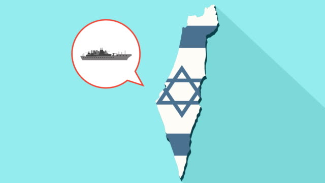 Animation of a long shadow Israel map with its flag and a comic balloon with a military warship video