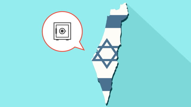 Animation of a long shadow Israel map with its flag and a comic balloon with a safe video