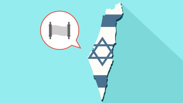 Animation of a long shadow Israel map with its flag and a comic balloon with a torah scroll video