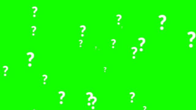 animation of a lot of white question mark moving on chroma key green screen background - question mark video stock e b–roll