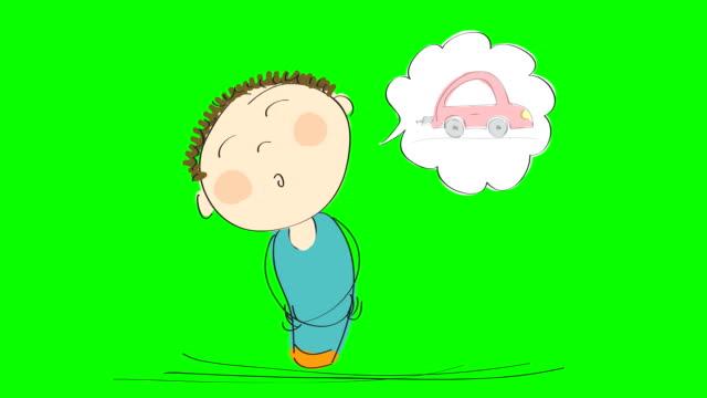animation eines mannes denken über den kauf eines neuwagen, animierte handgezeichnete cartoon-figur auf chroma key greenscreen hintergrund. - drive illustration stock-videos und b-roll-filmmaterial