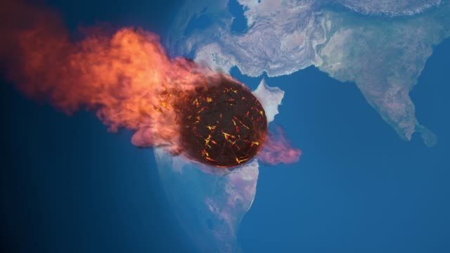 지구의 중간권에 불타는 운 석의 애니메이션 - 유성 스톡 비디오 및 b-롤 화면