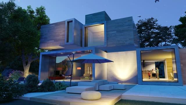 vidéos et rushes de animation d'une maison cubique moderne avec piscine et jardin le soir - luxe
