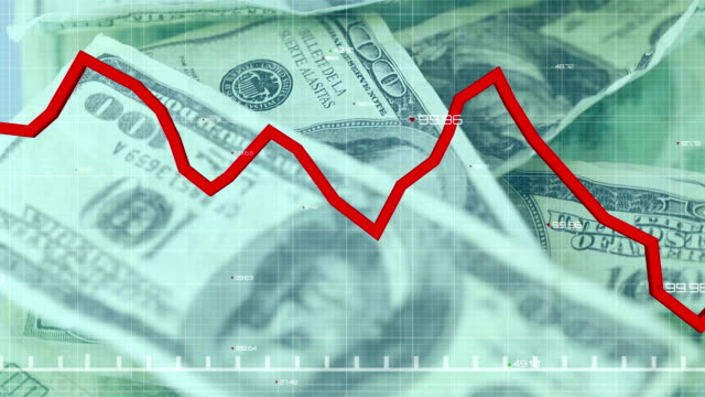 Animation of a red graph forming over American dollar bills spinning