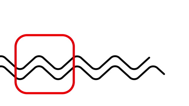 animation of a red rectangle and two curved line in  minimal art motion style