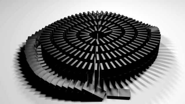 Animation of a row of dominoes falling in a line video