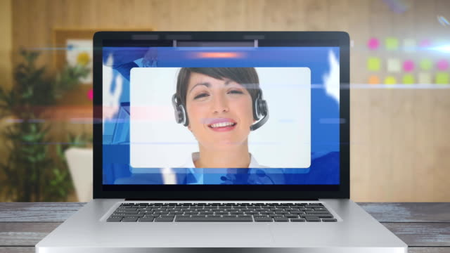 Animation of a screen showing a Caucasian woman wearing phone headset a. Coronavirus  spreading