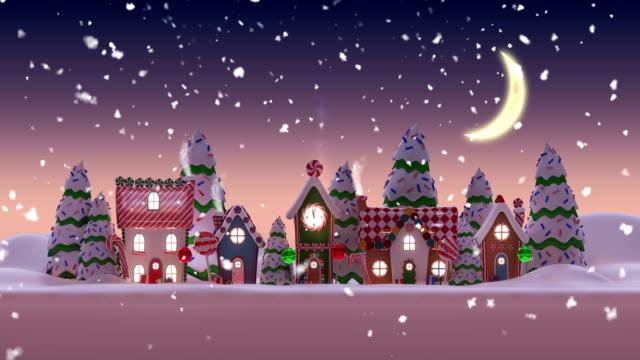 animation einer verschneiten stadt während weihnachten bei nacht - lebkuchenhaus stock-videos und b-roll-filmmaterial