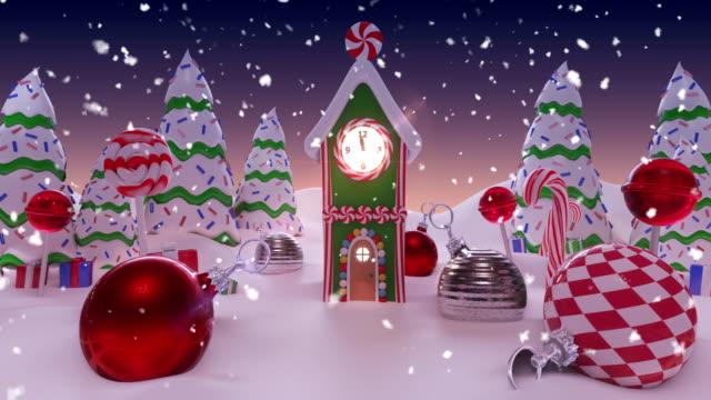 animation eines verschneiten hauses, das zu weihnachten geschmückt ist - lebkuchenhaus stock-videos und b-roll-filmmaterial