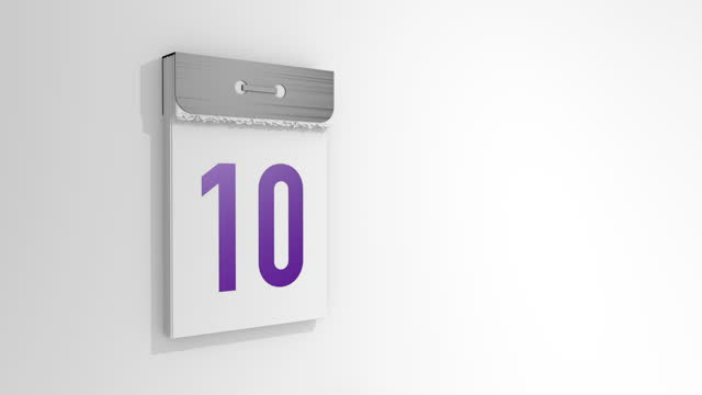 vídeos y material grabado en eventos de stock de animación de un elegante calendario de desmontaje de 9 a 10. la página número nueve sale y cae, y debajo está el número diez. renderizado 3d, ilustración 3d. - memorial day