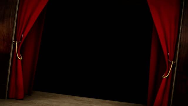 3d-animering av en teater, show, opera, scen, scen röd sammet gardin öppning med alfa skikt - red silk bildbanksvideor och videomaterial från bakom kulisserna