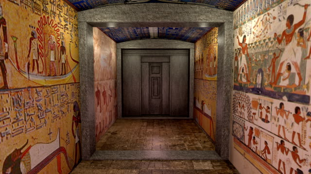 3D animation of a tomb in ancient Egypt including greenscreen video