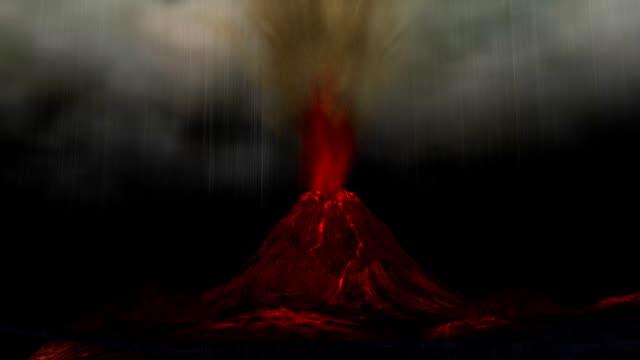 animation von einem vulkanausbruch - vulkan stock-videos und b-roll-filmmaterial