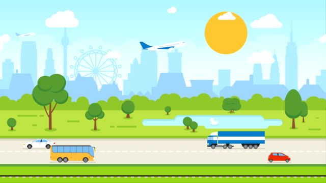 Animation of Abstract City Skyline and Transport: Cars, Train, Airplane. Background Seamless Loop Full HD and 4K.